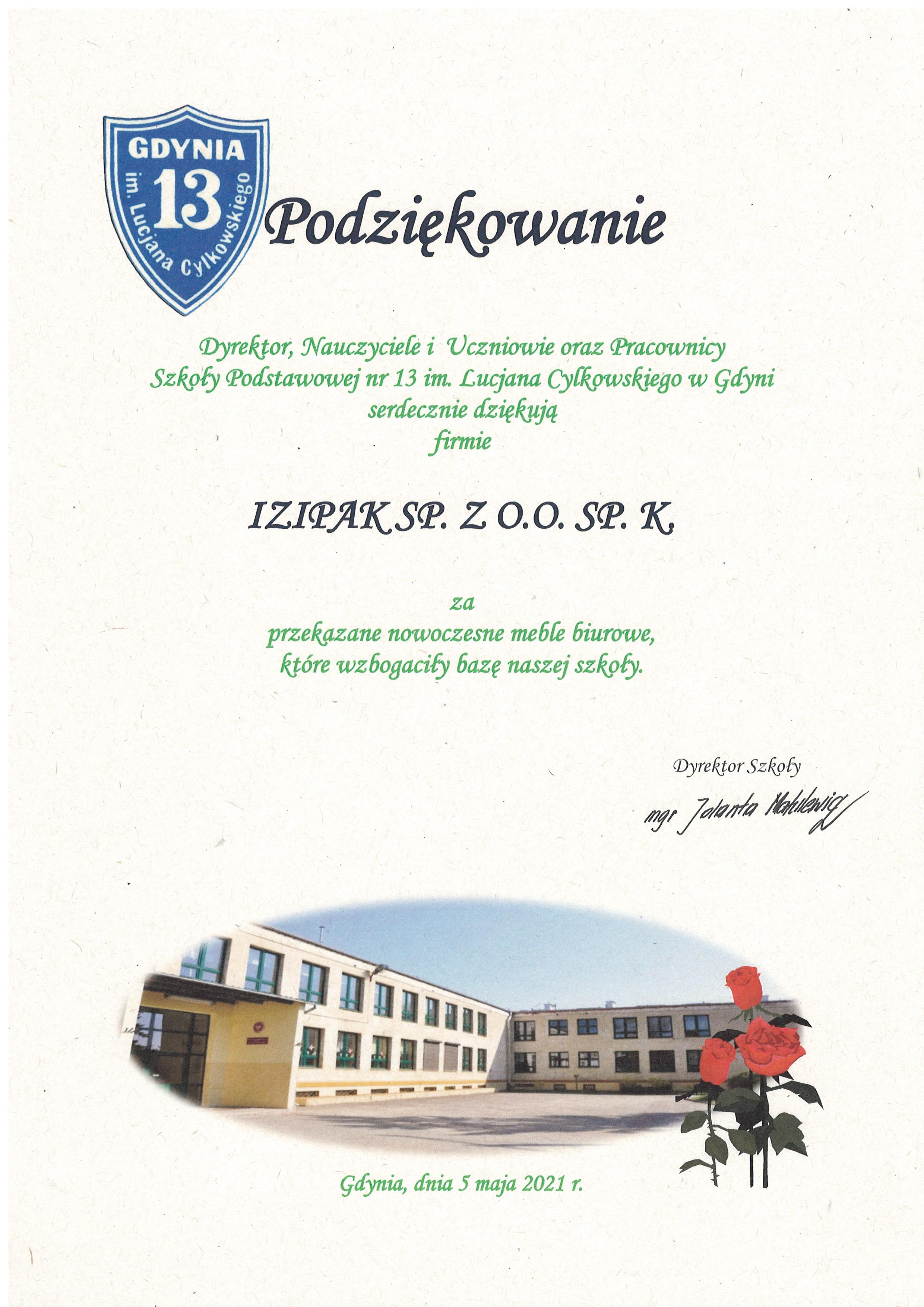 Podziękowanie dla IZIPAK SP. Z O.O SP. K