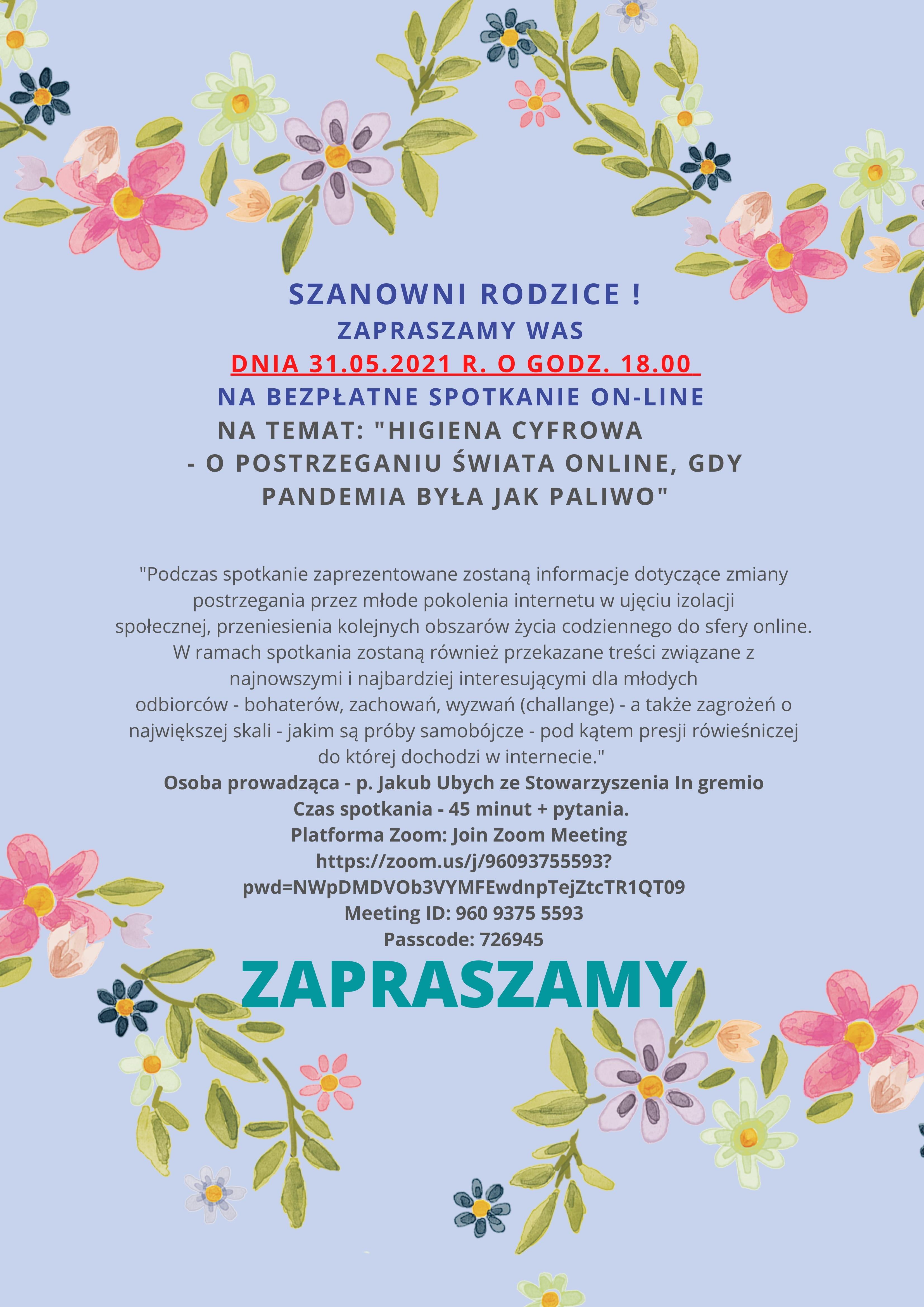 Zaproszenie dla Rodziców