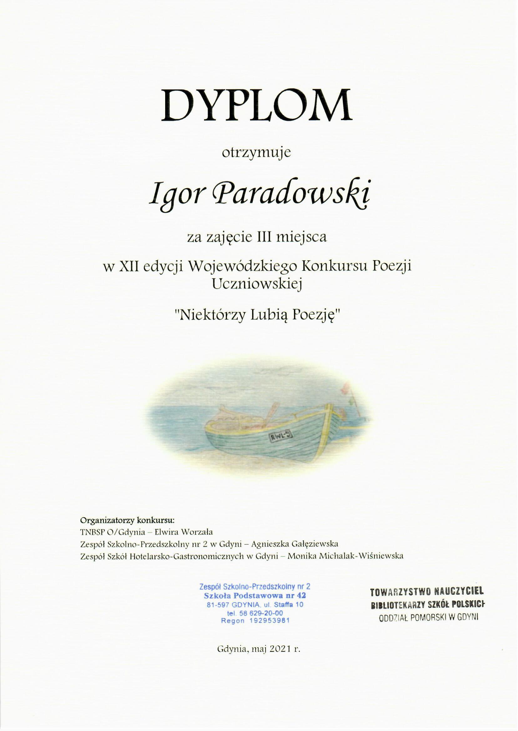 III miejsce w XII Wojewódzkim Konkursie Poezji Uczniowskiej ''Niektórzy Lubią