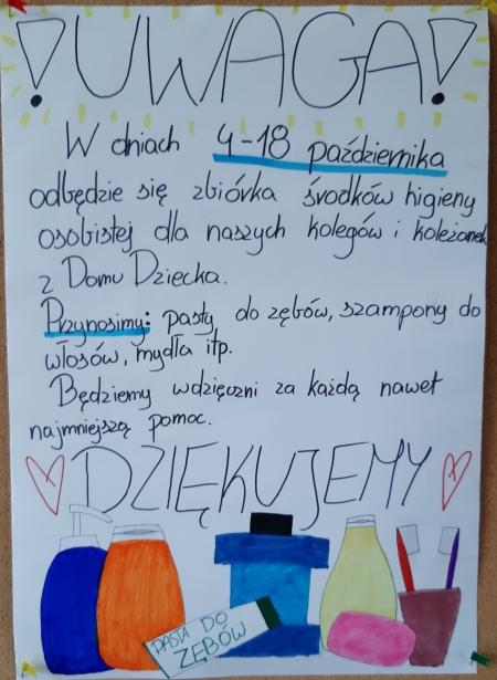 Zbiórka środków higieny osobistej dla dzieci z domu dziecka